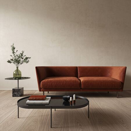 Modern minimalist beige interior with orange sofa and coffee table. 3d render illustration mock up.
