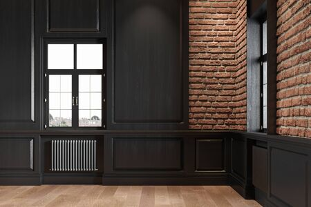 Empty loft interior with wall panel, brick wall and wood floor. 3d render illustration mock up. Imagens