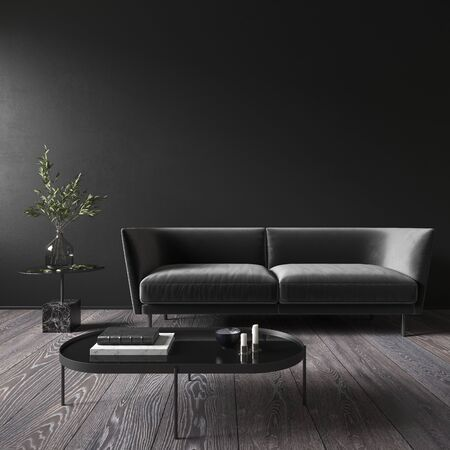 Black minimalistic interior with sofa and coffee table. 3d render illustration mock up. Imagens