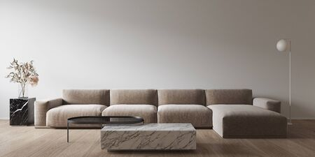 White minimalistic interior with marble coffee table and sofa. 3d render illustration mock up.