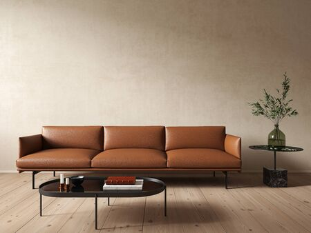 Modern minimalist beige interior with leather orange sofa and coffee table. 3d render illustration mock up.