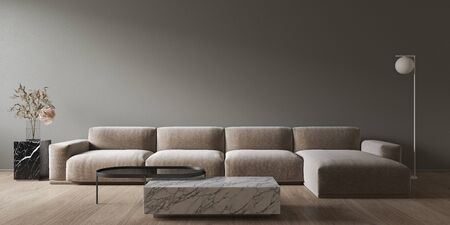 Gray minimalistic interior with marble coffee table and sofa. 3d render illustration mock up. Imagens