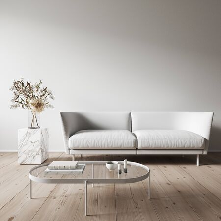 Modern minimalist white interior with orange sofa and coffee table. 3d render illustration mock up.