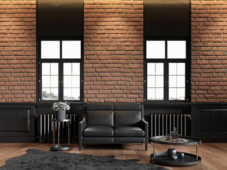 Loft interior with brickwall, leather couch, wood panel, window and carpet. 3d render illustration mock up.