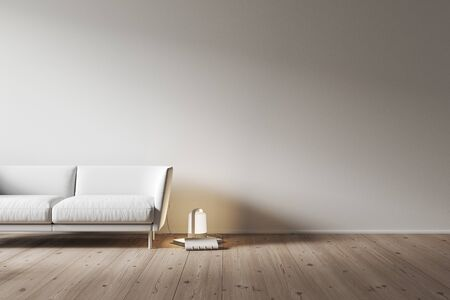 White interior with blank wall, sofa and decor. 3d render illustration mock up. Imagens