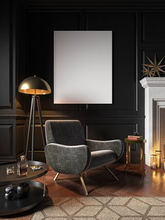 Classic black interior with armchair, wall panel and decor. 3d render illustration mock up.