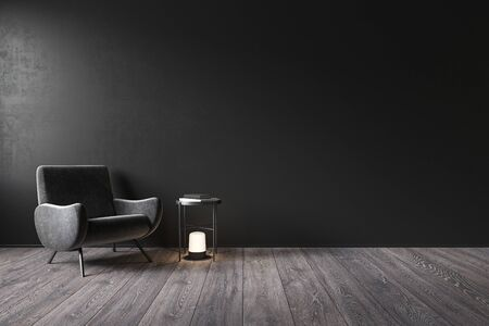 Black interior with blank wall, armchair and decor. 3d render illustration mock up.