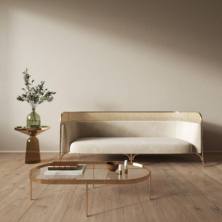 Beige interior with blank wall, sofa and decor. 3d render illustration mock up. Imagens