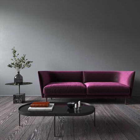 Gray interior with blank wall, purple sofa and decor. 3d render illustration mock up.