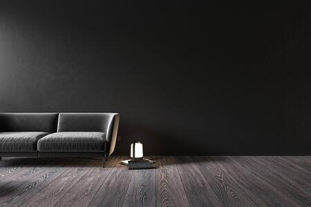 Black interior with sofa and decor. 3d render illustration mock up.
