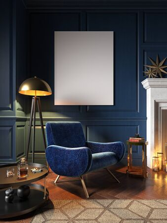 Classic blue interior with armchair, wall panel and decor. 3d render illustration mock up.