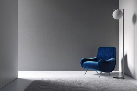 Gray minimalism interior with blue armchair, floor lamp and carpet. 3d render illustration mock up.