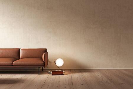 Beige interior with orange sofa and decor. 3d render illustration mock up. Imagens