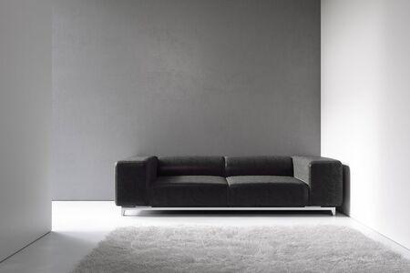Minimalism interior with gray wall, black sofa and decor. 3d render illustration mock up.