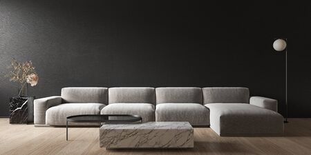 Black minimalistic interior with marble coffee table and sofa. 3d render illustration mock up.