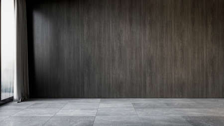 Black interior with wood wall panel and gray tile stone floor. 3d render illustration mock up.