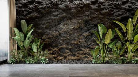 Black slate wall with plants. 3d render mock up illustration.