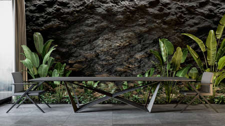 Black slate wall with large table and plants. 3d render mock up illustration.