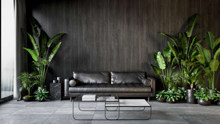 Black interior with sofa, plants and coffee table. 3d render illustration mock up.