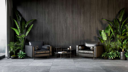 Black interior with armchairs, plants and coffee table. 3d render illustration mock up. Imagens