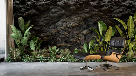 Black interior with rock slate wall and lounge chair and pants. 3d render illustration mock up.