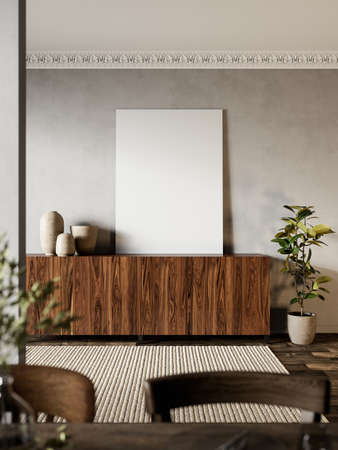 Interior with wood dresser, plants and carpet. Imagens