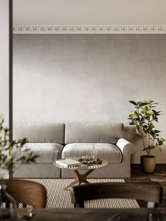Interior with gray sofa, plants and carpet.