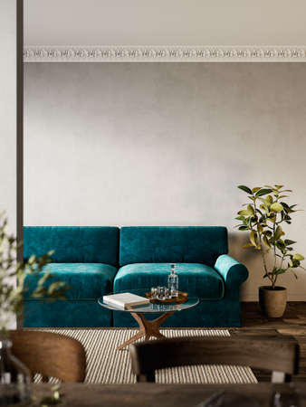 Interior with green sofa, plants and carpet. Imagens