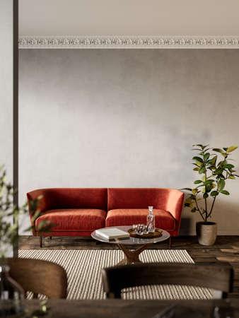 Interior with orange sofa, plants and carpet.