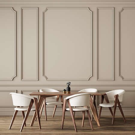 Classic beige interior with dining table and chairs. 3d render illustration background mock up.
