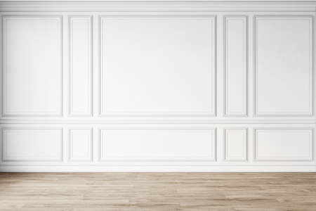 Classic white empty interior with wall panels, moldings and wooden floor. 3d render illustration mock up.