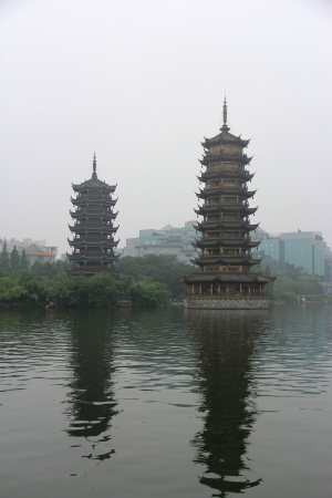 This is the twin tower in guilin,Guangxi