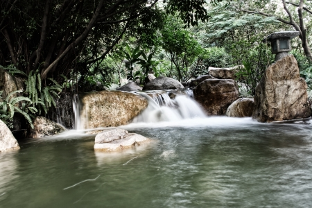 An artificial waterfall in the Zhujiang-River Park  photo