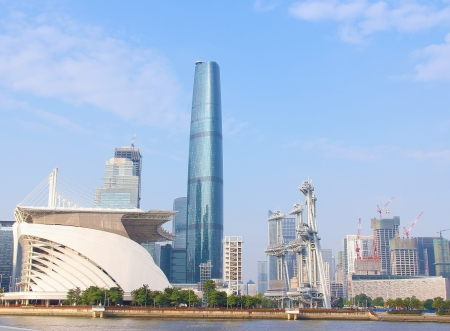 The landscape in the modern city which show the change of guangzhou photo