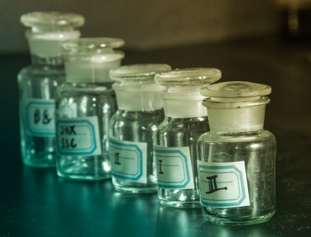 preliminary experiment--ampulla for reagent Stock Photo - 19157736