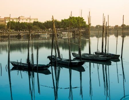 romcaper: the detail of guangzhou,the boat in the afternoon Stock Photo