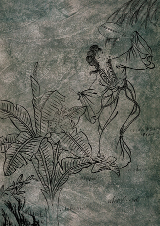 Classical Chinese painting--girl dancing with flower Stock Photo