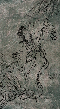 Classical Chinese painting--girl dancing with flower photo