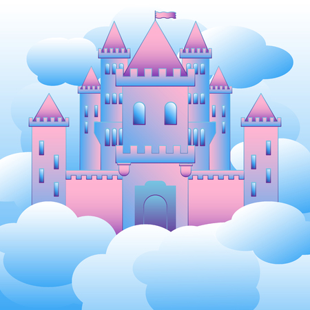Vector illustration of the castle in the air, building castles in the air