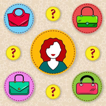 Donna che sceglie una borsetta. Come scegliere una borsa? Scelta difficile.