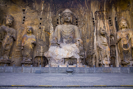 Longmen Grottoes - the Great Buddha of lushe Editorial