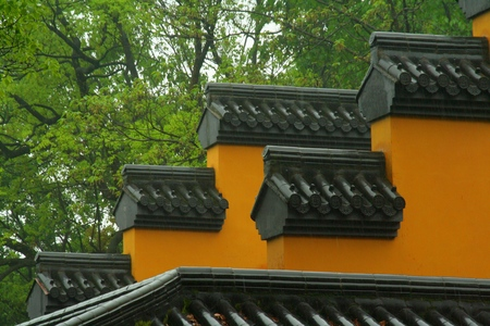 The temple walls of the monastery in the rain