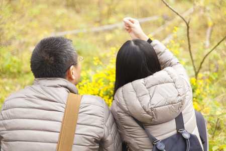 rear view of a pair of Chinese couple