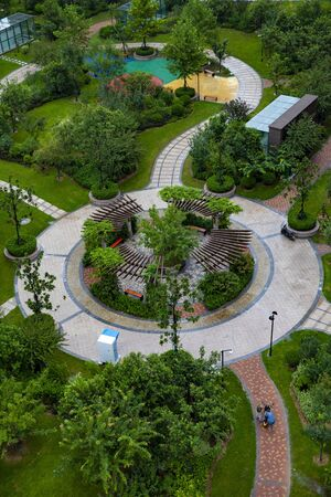 aerial view of the central garden