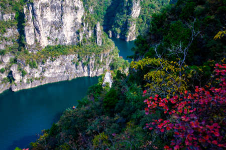 Emerald Lake and Red Leaves in Fenglinxia, Taihang Mountain