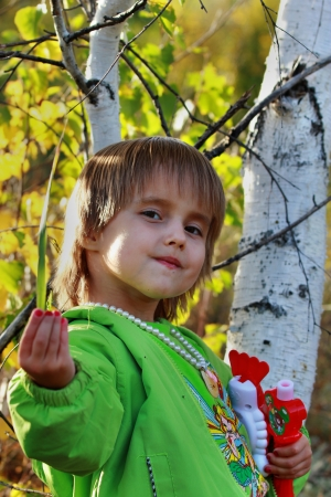 Girl in the forest near the birch photo
