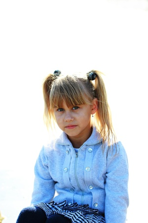 Portrait of a sad girl on a white background Stock Photo - 16249440