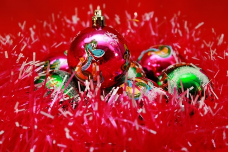 Background of beautiful Christmas balls and tinsel Stock Photo
