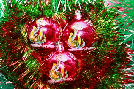 Christmas decorations, Christmas tree balls in tinsel Stock Photo