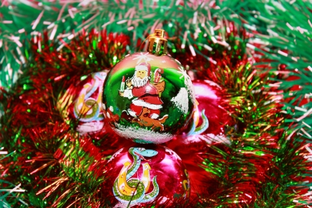 Christmas balls in gold tinsel Stock Photo